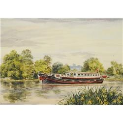 Michael Vicary (20th Century, American) Riverboat Seascape, Watercolor on Paper,