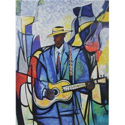 William Tolliver (1951 - 2000, American) Luther, Jazz Guitar, Serigraph,