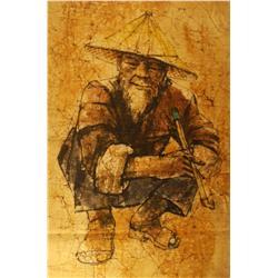 Chu-Fong (20th Century) Taiwanese Old Man, Batik on Cotton,