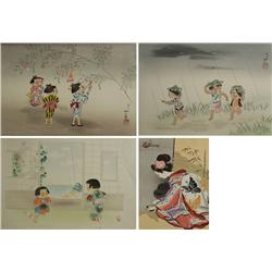 Hitoshi Kiyohara (1896-1956, Japanese) Three Prints Depicting Children, Together with a Print by San