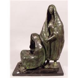 Carlos Manzano (20th century, Mexican) Two Female Figures, Bronze,