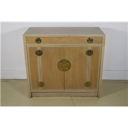 An Edward Wormley for Dunbar Chinese Walnut Four Door Cabinet with Drawer.