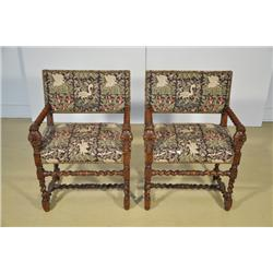 A Pair of Gothic Revival Mahogany Arm Chairs.
