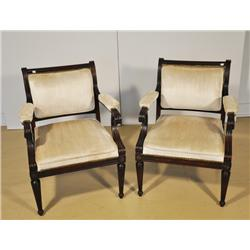 A Pair of Regency Style Mahogany Arm Chairs,