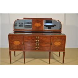 A Continental Mahogany and Fruit Wood Inlay Mirrored Sideboard,