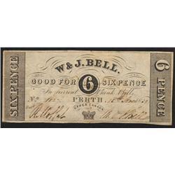 W & J Bell, six pence