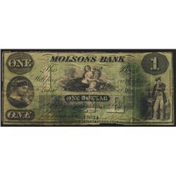1857 Molsons Bank $1