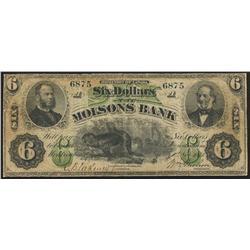 1871 Molsons Bank $6