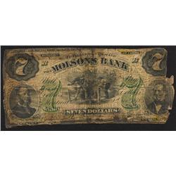 1871 Molsons Bank $7