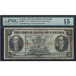 1913 Royal Bank of Canada $5 St. Kitts Overprint