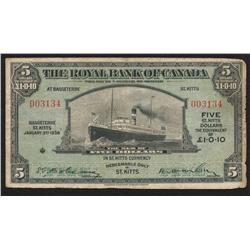 1938 Royal Bank $5 St. Kitts Issue