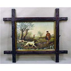 VINTAGE HUNTING PRINT IN ARTS AND CRAFTS STYLE FRA