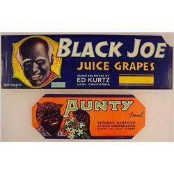 LOT OF 2 VINTAGE BLACK AMERICANA FRUIT LABELS - Bl