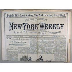 7-1-1872 NEW YORK WEEKLY NEWSPAPER - Headline for
