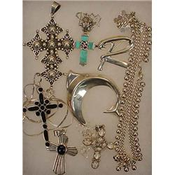 LOT OF STERLING SILVER JEWELRY - Incl. Crosses