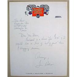 VINTAGE TIM HOLST HANDWRITTEN LETTER ON RINGLING B