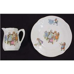 VINTAGE GERMAN CHILD'S PLATE AND PITCHER SET - Mar