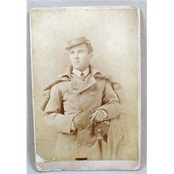 CIVIL WAR ERA CABINET CARD PHOTO OF A SOLDIER W/ K