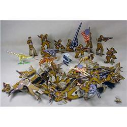 LARGE LOT OF VINTAGE DIE CUT TOY SOLDIERS AND ANIM