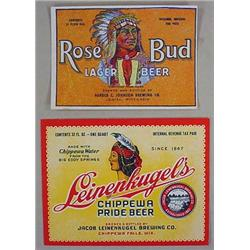 LOT OF 2 VINTAGE NATIVE AMERICAN INDIAN BEER LABEL