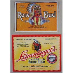 LOT OF 2 VINTAGE NATIVE AMERICAN INDIAN BEER LABEL