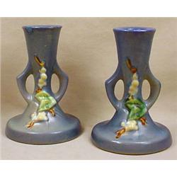 PAIR OF 2 ROSEVILLE BLUE SNOWBERRY CANBERRY CANDLE