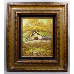 OIL PAINTING OF A COUNTRY SCENE ON CANVAS - FRAMED