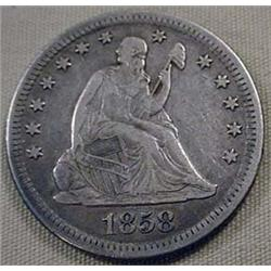 1858-O SEATED LIBERTY QUARTER - VF+