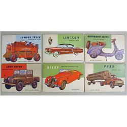 LOT OF 6 1954 TOPPS WORLD ON WHEELS TRADING CARDS