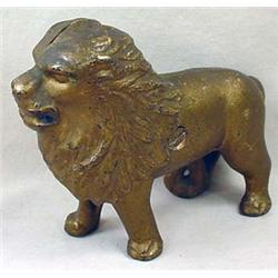ANTIQUE CAST IRON LION COIN BANK