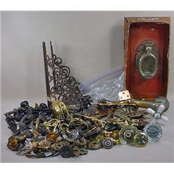 LARGE LOT OF VINTAGE HARDWARE - Incl. Glass Doorkn