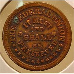 CIVIL WAR ERA TOKEN - THE UNION MUST AND SHALL BE