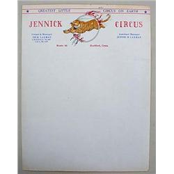 VINTAGE JENNICK CIRCUS LETTERHEAD