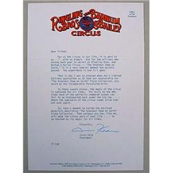 IRVIN FELD SIGNED LETTER ON RINGLING BROS. B AND B