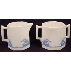 EARLY ROOKWOOD CREAM AND SUGAR SET - Each approx.