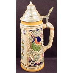 VINTAGE GERMAN LIDDED STEIN - Orig. Foil Sticker o