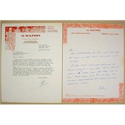 LOT OF 2 AL HALPERN CIRCUS SIGNED LETTERS ON LETTE
