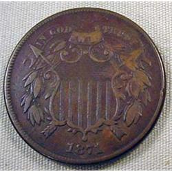 1871 2 CENT PIECE - VG/F