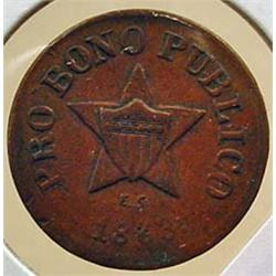 1863 CIVIL WAR ERA TOKEN - PRO BONO PUBLICO - NEW