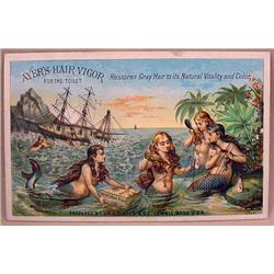 VICTORIAN TRADE CARD - AYER'S HAIR VIGOR - MERMAID