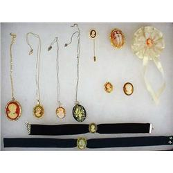 LOT OF VINTAGE CAMEO JEWELRY - Incl. Necklaces, Br