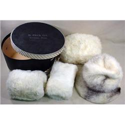 FUR HAT AND 3 MUFFS IN VINTAGE HAT BOX - Hat Box f