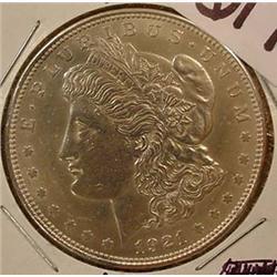 1921-P MORGAN SILVER DOLLAR - AU