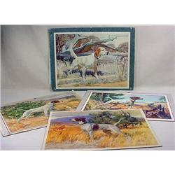 LOT OF 4 C. 1950'S HUNTING DOG LITHO PRINTS BY DUP