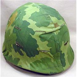 VINTAGE MILITARY HELMET W/ CAMOFLAGE COVER