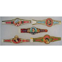 LOT OF 5 VINTAGE CIGAR BANDS - Incl. Judge Taft an