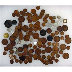 LARGE LOT OF EARLY WHEAT PENNIES, FOREIGN COINS, T