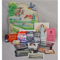 LOT OF MISC. TREASURES - Incl. Glass Slides, Milit