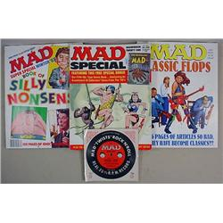 LOT OF VINTAGE MAD MAGAZINES AND A PREMIUM RECORD
