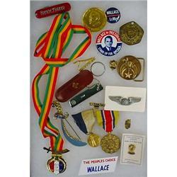 LOT OF MISC. TREASURES - Incl. Medals, Pinback But